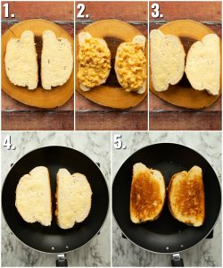 How to make mac and cheese grilled cheese - 5 step by step photos