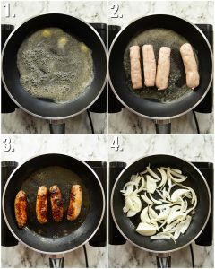 How to pan fry sausages - 4 step by step photos