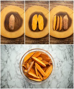 How to prepare sweet potato wedges - 4 step by step photos