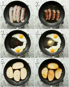 6 step by step photos showing How to fry an egg