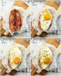 4 step by step photos showing how to make a fried egg sandwich