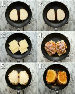 6 step by step photos showing how to make a buffalo chicken grilled cheese