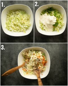 3 step by step photos showing How to make coleslaw