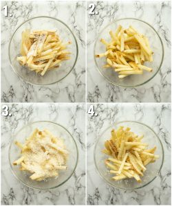 4 step by step photos of How to make parmesan fries