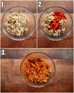 3 step by step photos showing how to make shredded buffalo chicken