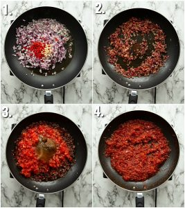 4 step by step photos showing How to make tomato chutney