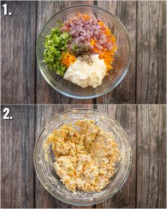 2 step by step photos showing how to make cheese and onion sandwich filler