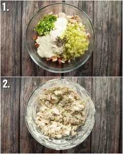 2 step by step photos showing how to make chicken bacon ranch
