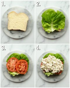 4 step by step photos showing how to make chicken bacon ranch sandwich
