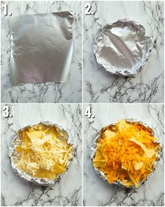 4 step by step photos showing how to make foil packet nachos