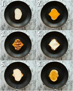 6 step by step photos showing how to make jalapeno popper grilled cheese