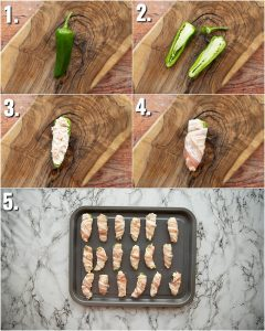 5 step by step photos showing how to make jalapeno poppers