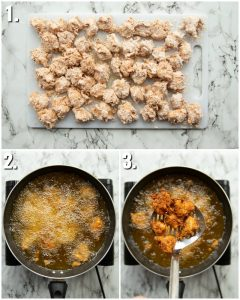 3 step by step photos showing how to make popcorn chicken