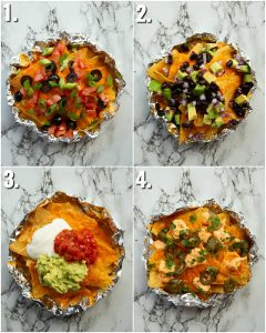 4 photo collage showing different nachos toppings