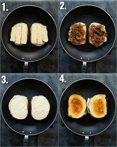 4 step by step photos showing how to make a brie grilled cheese