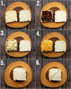 6 step by step photos showing how to make a cheese and pickle sandwich