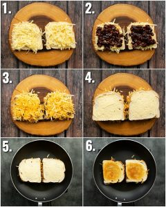 6 step by step photos showing how to make a cheese and pickle toastie
