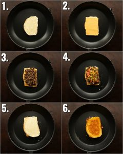 6 step by step photos showing how to make a cheeseburger grilled cheese
