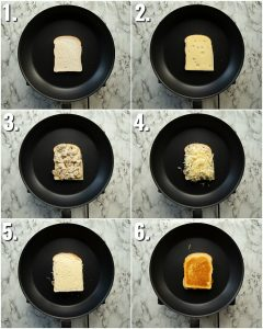 6 step by step photos showing how to make a mushroom grilled cheese