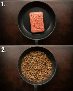 2 step by step photos showing how to make burger ground beef