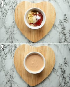 2 step by step photos showing how to make burger sauce