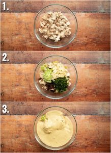 3 step by step photos showing how to make coronation chicken
