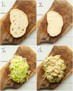 4 step by step photos showing how to make coronation chicken sandwich