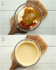 2 step by step photos showing how to make coronation chicken sauce