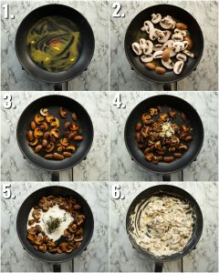 4 step by step photos showing how to make creamy mushrooms
