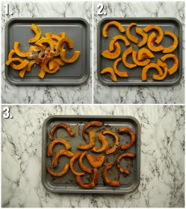 3 step by step photos showing how to roast pumpkin