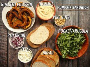 labeled photo of pumpkin sandwich filling ingredients