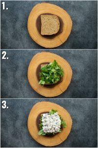 3 step by step photos showing how to make a waldorf chicken salad sandwich