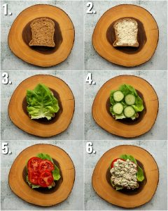 6 step by step photos showing how to make a tuna salad sandwich