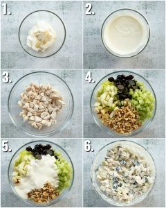 6 step by step photos showing how to make chicken waldorf salad