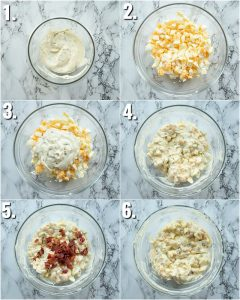 6 step by step photos showing how to make egg mayonnaise