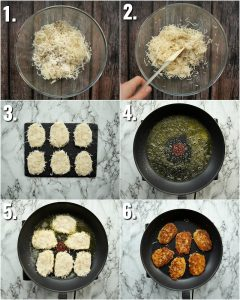 6 step by step photos showing how to make hash browns