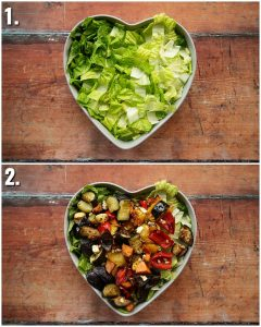 2 step by step photos showing how to make roasted vegetable salad