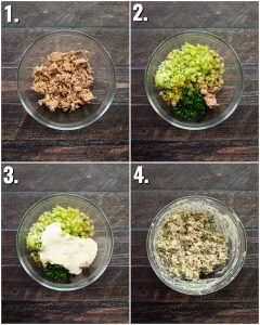 4 step by step photos showing how to make tuna salad