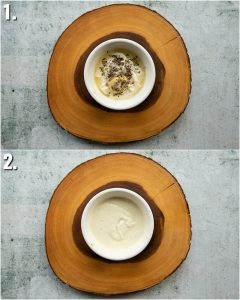 2 step by step photos showing how to make tuna salad dressing