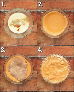 4 step by step photos showing how to marinate spicy chicken