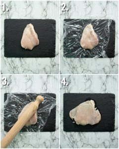 4 step by step photos showing how to pound chicken