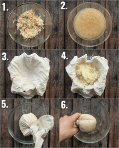 6 step by step photos showing how to prepare hash browns