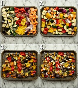 4 step by step photos showing how to roast vegetables