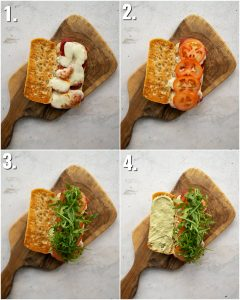 4 step by step photos showing chorizo sandwich fillings