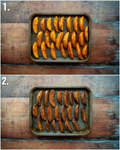 2 step by step photos showing how to bake spicy wedges