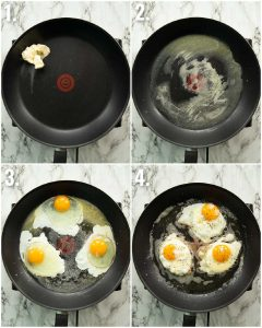 4 step by step photos showing how to fry eggs