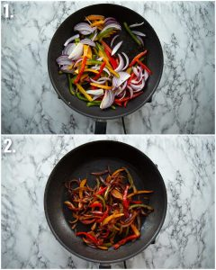 2 step by step photos showing how to fry fajita veg