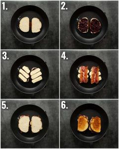 6 step by step photos showing how to make a blackberry grilled cheese