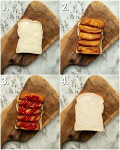 4 step by step photos showing how to make a chip butty