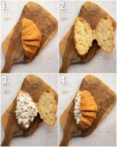 4 step by step photos showing how to make a croissant sandwich